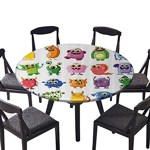 (Round Premium Tablecloth Cute Little Msters with Funny Goofy Gestures Bacteria asts Kids Theme for All Occasions 40