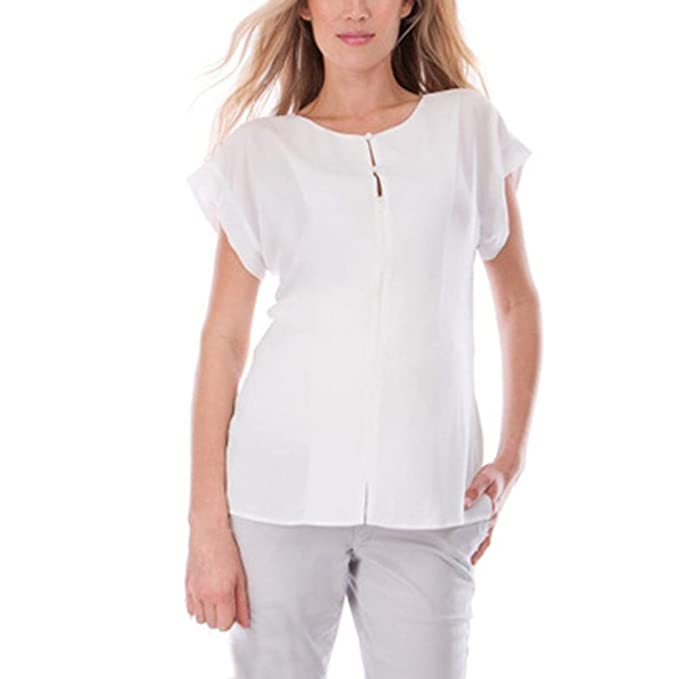 Cinnamou Camisetas Manga Corta Premama Mujeres Pure Color Nursing Care Camiseta Doble Superior