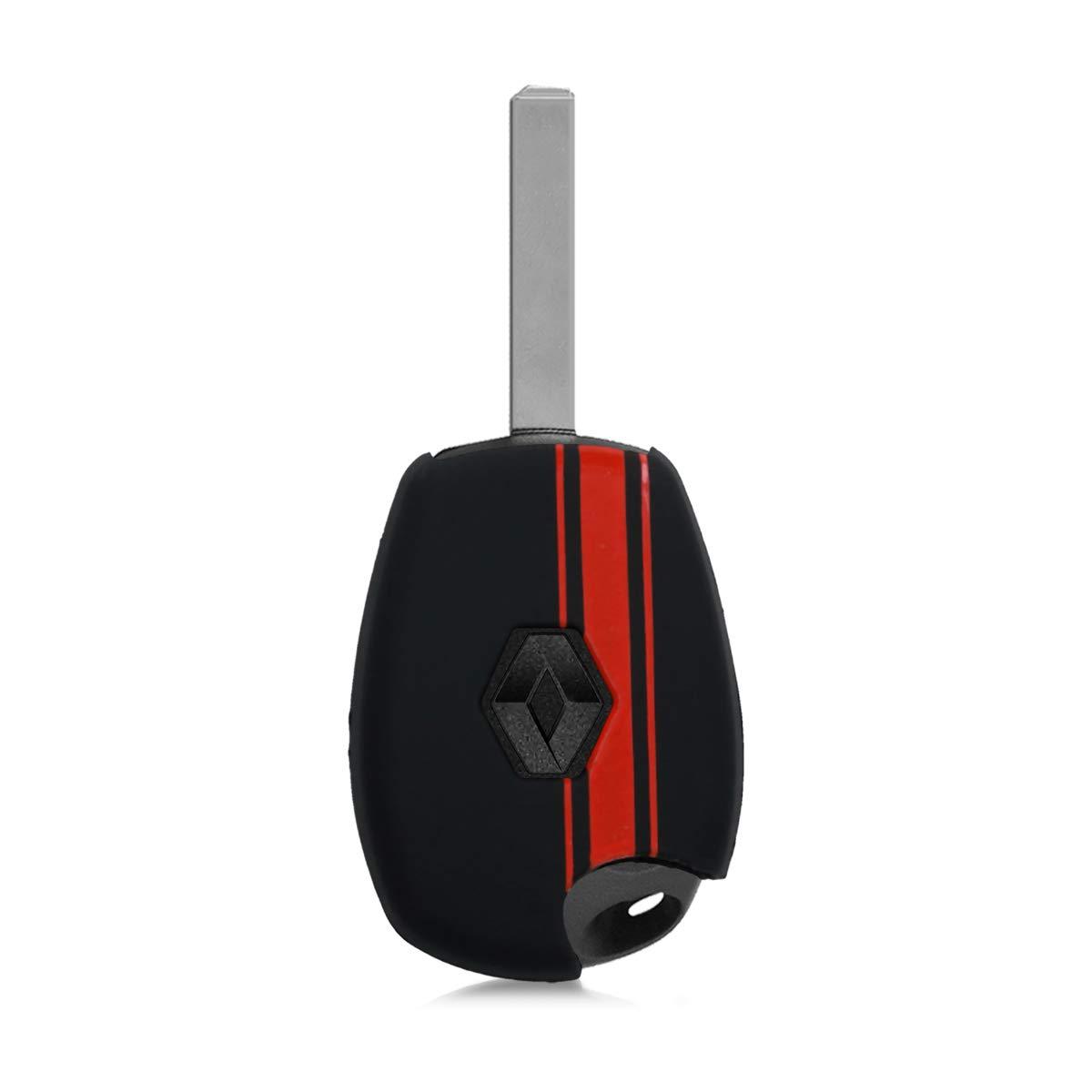 kwmobile Funda para Llave de 2 Botones para Coche Renault Dacia Carcasa Protectora Suave de Silicona Case de Mando de Auto con dise/ño de Rally