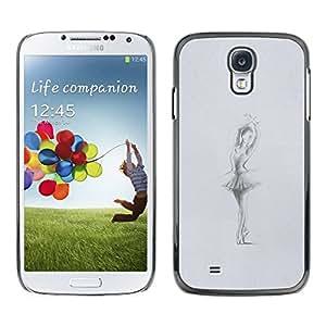 TopCaseStore / la caja del caucho duro de la cubierta de protección de la piel - Grey Charcoal Sketch - Samsung Galaxy S4 I9500