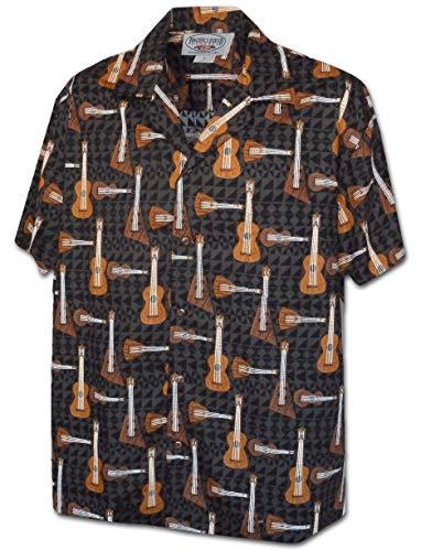 Acoustic Ukulele Men's Aloha Shirts 410-3974-BLACK-XL