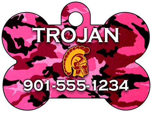 Pink Camo Pet Dog - NCAA Camo Pink Pet Id Tag for Dogs & Cats Personalized w/ Name & Number (USC Trojans)