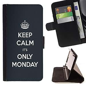 - Keep calm its only monday / Personalizada del estilo del dise???¡Ào de la PU Caso de encargo del cuero del tir????n del soporte d - Cao - For Apple Iphone 6 PLUS 5.5