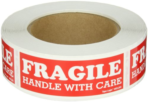 """Aviditi SCL203 Rectangle Label """"Fragile Handle with Care"""", 4"""