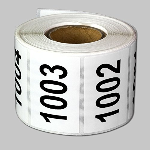 "Consecutive Number Labels Self Adhesive Stickers ""1001 to 1500"" (White Black / 1.5"" x 1"") - 500 labels per package"