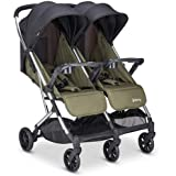 Joovy Kooper X2 Double Stroller, Lightweight Travel Stroller, Compact Fold with Tray, Olive