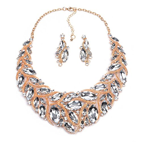 WSHINE Bling Crystal Choker Statement Necklace and Earrings Jewelry Set (c)