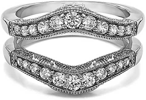 Sterling Silver Vintage Style Filigree and Milgraining Contour Ring Guard with Cubic Zirconia (0.75 ct. tw.)