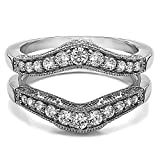 TwoBirch 0.75 ct. Cubic Zirconia Vintage Style Filigree and Milgraining Contour Ring Guard in Sterling Silver (3/4 ct. twt.)