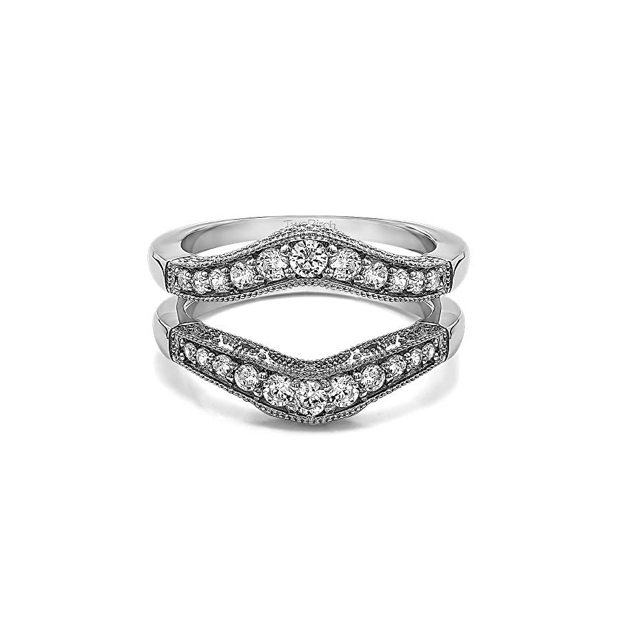 TwoBirch Sterling Silver Vintage Style Filigree and Milgraining Contour Ring Guard Diamonds G,I2 (0.75 ct. tw.)