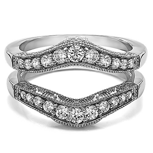 nia Vintage Style Filigree and Milgraining Contour Ring Guard in Sterling Silver (3/4 ct. twt.) (Style Silver Filigree Ring)
