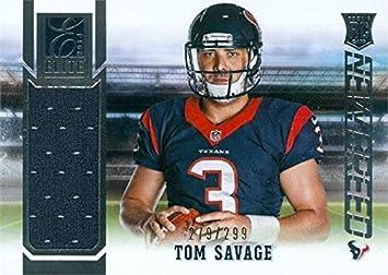 sale retailer d4af9 537fd Tom Savage player worn jersey patch football card (Houston ...