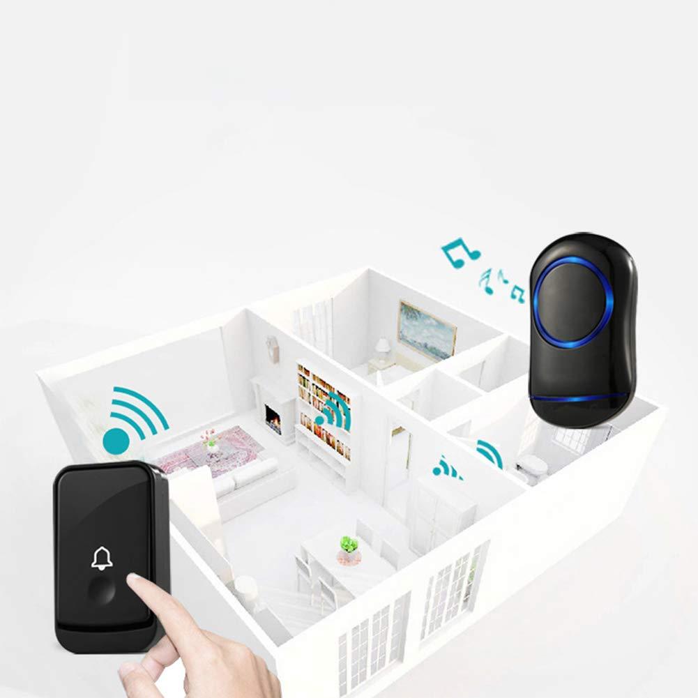 WXLAA Home Waterproof Wireless Doorbell 45 Songs Chime Door Bell 1 Transmitter 2 Receiver 300M Black EU Plug by WXLAA (Image #4)