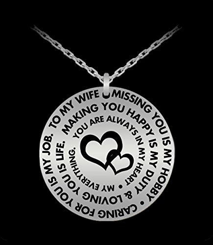 Wife Pendant Necklace - Personal Gift From Husband - Silver/Gold Laser Engraved - Cute Charm (Fire Department Badge Charm)