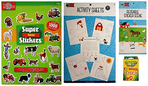 Farm Animals 4 Piece Kids Activity Set (30 Barnyard Animals Coloring & Activity Sheets, 1000 Farm Stickers, Reusable Sticker Scene, and Crayons)