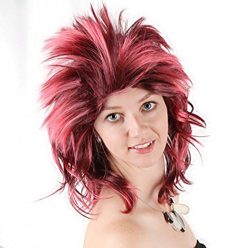 Punk Girl Red & Black Punk Wig Adult Costume - Up It Punk