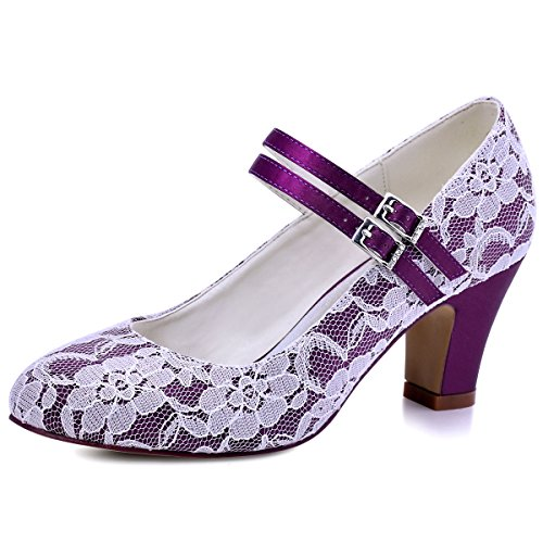 Elegantpark HC1708 Women High Block Heel Mary Jane Buckle Satin Lace Wedding Party Bridal Court Shoes Purple th2JGuYB