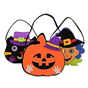 MLM Trick or Treat Bags Happy Halloween Pumpkin Candy Handbag Non-woven Fabric Children Gift Bags (delivery randomly)