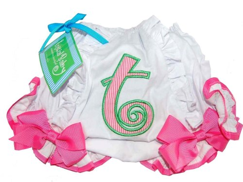 [Mud Pie Baby Girl Pink Initial Cotton Bloomer, Letter T, 0 - 6 Months] (Things That Start With The Letter B)
