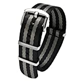 18mm Luxury Seat Belt Nylon Watch Strap 18mm NATO Bond Black and Gray Heavy Duty Polished Buckle