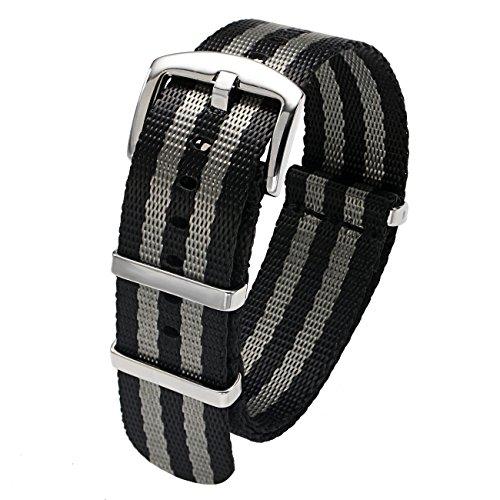 Black Belt Watch - PBCODE Watch Straps Seat Belt Nylon NATO Straps Heavy Duty Polished Buckle 20mm Black and Gray James Bond