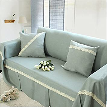 Classic Gray Cotton Linen Fabric Sofa Slipcover Couch Cover Protector 74 X  118 Inch