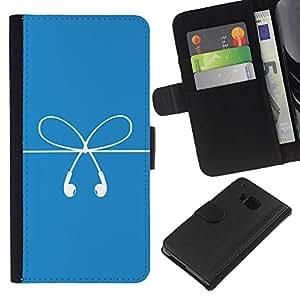 iBinBang / Flip Funda de Cuero Case Cover - Bow Cuerdas Blanco Azul Dilataciones Arte - HTC ONE M9