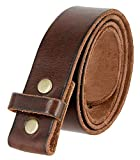 100% One-Piece Full Grain Leather Belt Strap with No Slot Hole 1 1/2' Wide (Brown, 38)