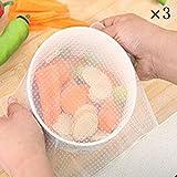 EQLEF® 3 pezzi della copertura del silicone avvolge mantenere gli alimenti freschi da cucina
