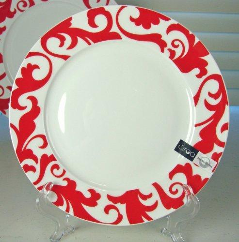 Fiori Salad - Ciroa Fiori Salad Plate, Set of 4, Red & White Paisley Fine Bone China