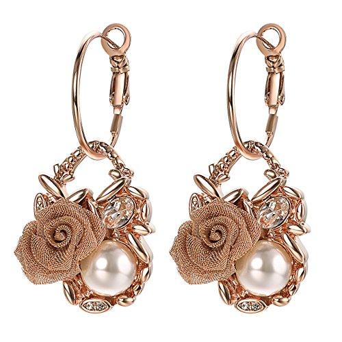 Gold Pearl Chandelier Earrings - VOGEM Pearl Chandelier Earrings 18K Rose Gold Flower Dangle Leverback Earrings for Women Cocktail Wedding Jewelry