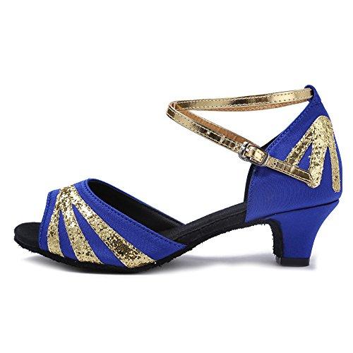 amp;Niña Baile Modelo de Tango ESXGG de Baile Latinos Zapatillas de Danza Salón de YKXLM Salsa Zapatos Azul Mujeres Calzado Performance gWU8qx7wT5