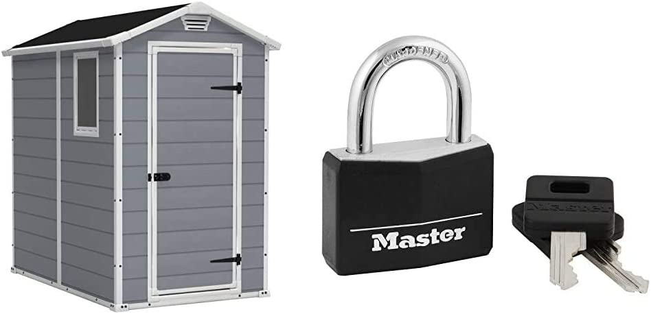 KETER Manor 4x6 Resin Outdoor Storage Shed Kit-Perfect to Store Patio Furniture, Garden Tools Bike Accessories, Grey & White & Master Lock 141D Covered Aluminum Keyed Padlock, 1 Pack, Black