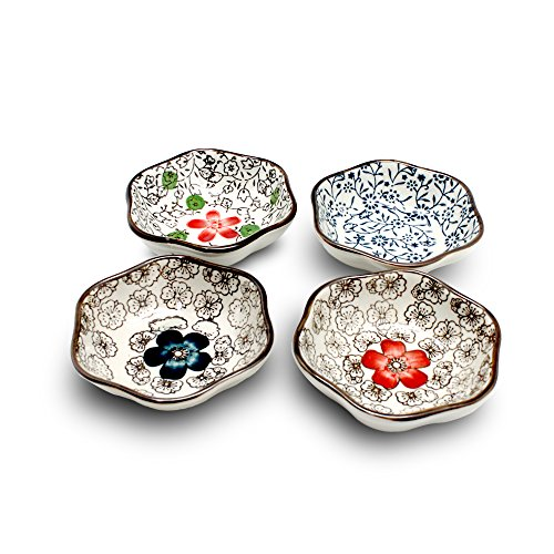 XIDUOBAO Set Of 4 Asian Style Sauce Dishes Plate Soy Sauce Dish Cream Soup Bowl And Saucer