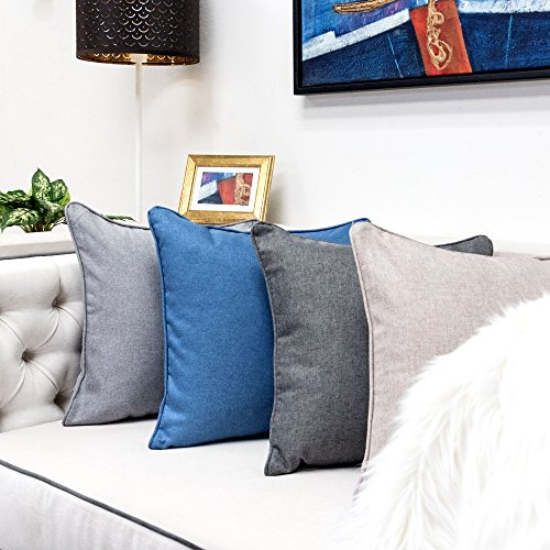 Homey Cozy Linen Throw Pillow Cover,Linen Textured Series Blue Large Sofa Couch Decorative Pillow Case Western Home Decor 20x20, Cover Only