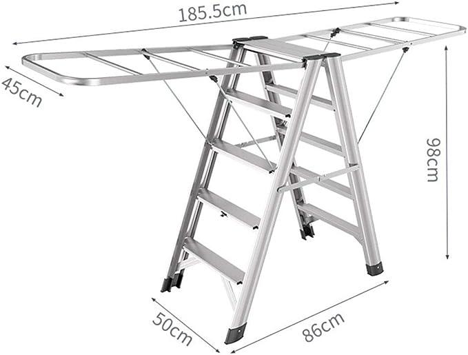 DZWSD Escalera 4 peldaños, 2 en 1 Tendedero Escalera Plegable de Aluminio Escalera de casa Espesar Sala de Estar con balcón: Amazon.es: Hogar