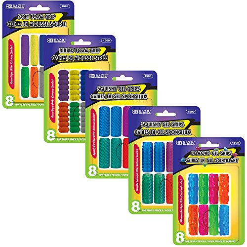 BAZIC Assorted Color and Shape Pencil/Pen Grip 8 per Pack (1500-24)