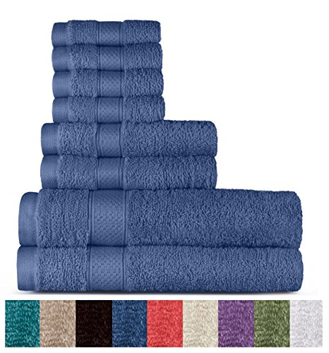 100% Cotton 8 Piece Towel Set (Cobalt); 2 Bath Towels, 2 Hand Towels and 4 Washcloths, Machine Washable, Super Soft by WELHOME from Welhome
