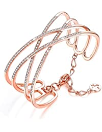 Serend Charm Cubic Zirconia Criss Cross Wide Cuff Bangle Bracelet in 18k Rose Gold Plated Women Jewelry