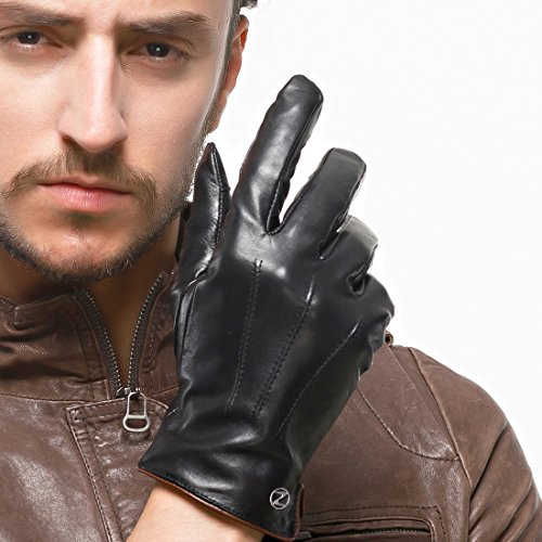 Nappaglo Men's Genuine Touchscreen Nappa Leather Gloves Driving Winter Warm Mittens (M (Palm Girth:8''-8.5''), Black (Touchscreen)) by Nappaglo (Image #2)