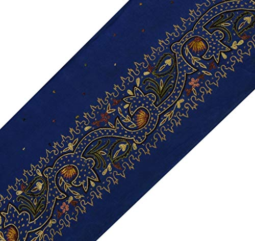 Vintage Sari Border Indian Craft Sewing Trim Embroidered Ribbon Lace Blue
