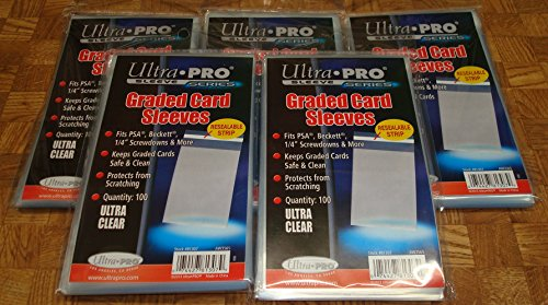 (5 Ultra Pro Graded Card Sleeve Packs with Resealable Strip 500 Total (5 100ct Packages). Protects Graded Cards From Scratching and Dust. For Use w/ Beckett, Bgs, PSA and)