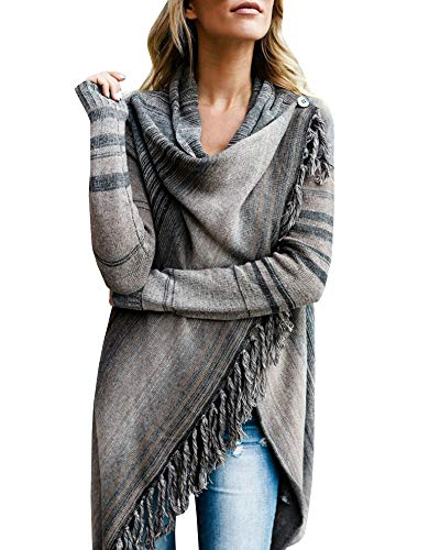 (Womens Speckled Fringe Cardigan Tassel Asymmetrical Hem Shawl Heap Collar Casual Sweater Poncho Grey)
