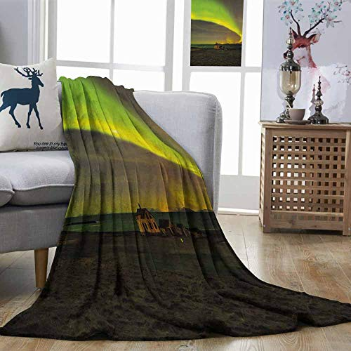 DILITECK Northern Lights Lightweight Blanket Celestial Show on Abandoned House in Aurora Borealis Print Light Weight Apple Olive and Army Green W51 xL60