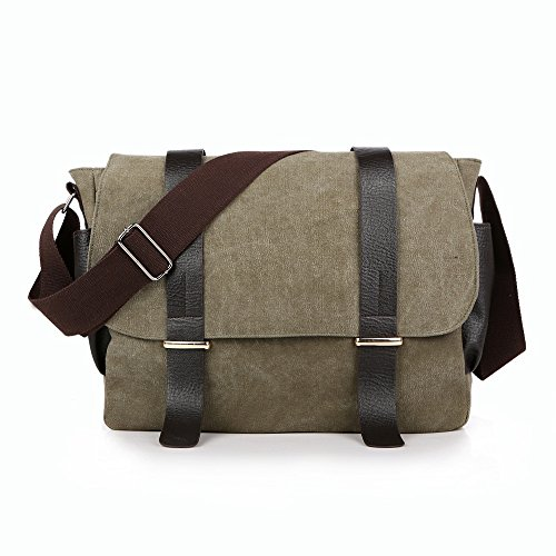 Army Color Retro Bag Sunbobo Shoulder Zipper Crossbody Leisure Briefcase Waterproof Green Canvas 8zwrqv8x5