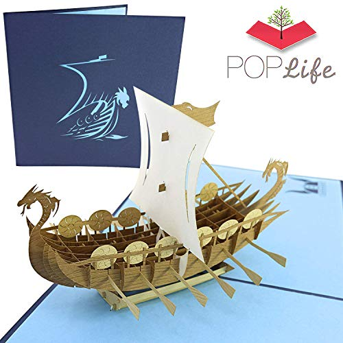 PopLife Norse Viking Ship 3D Pop Up Card for All Occasions - Happy Anniversary Pop Up Father