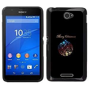 // PHONE CASE GIFT // Duro Estuche protector PC Cáscara Plástico Carcasa Funda Hard Protective Case for Sony Xperia E4 / Christmas Minimalist Ball Shiny /