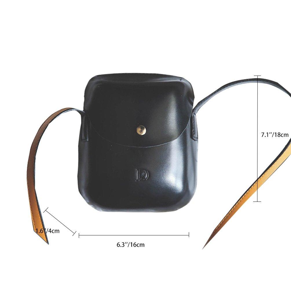 Vbiger Umhängetasche Kleine Damen Leder Schultertasche Handtasche (Schwarz1)