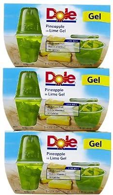 Dole Fruit Bowls, Pineapple in Lime Gel, 4.3 oz, 3 pk