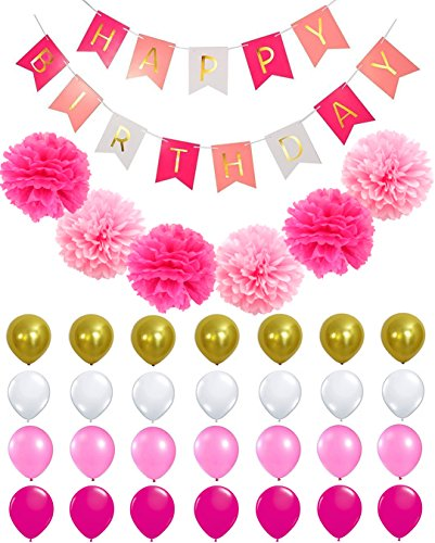 HAPPY BIRTHDAY BANNER POMPOM DECORATIONS - Perfect Party Supplies Kit, Hot Pink, Pastel Light Baby Pink, White Gold Foiled Bunting Flag Garland, Tissue Paper Fluffy Flower Pom Poms, Balloons,Girl (1st Bday Party Themes)